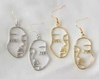 birthday gift Abstract face drop gold earrings gift personalised gift