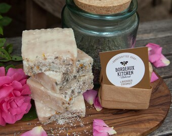 French Lavender & Coconut Handcrafted Tallow Bar Soap by Bordeaux Kitchen Naturals!