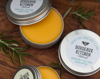 Organic Salve for Sore Feet & Legs in Rosemary-Tea Tree-Eucalyptus with Grassfed Tallow, Beeswax, Shea Butter, Organic Oils, Essential Oils