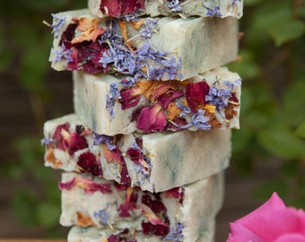 French Lavender & Blue Tansy Handmade Lard Soap - Moisturizing and Natural - by Bordeaux Kitchen Naturals