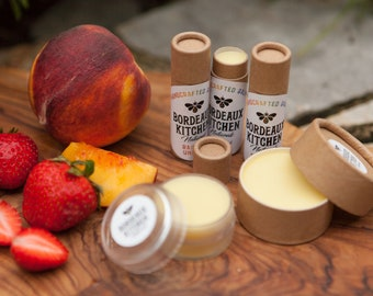 Rainbow Unicorn Strawberry Peach Lip Balm Chapstick with Beeswax, Shea Butter, Tallow, Coconut Oil, Olive Oil, Eco-Friendly Packaging!