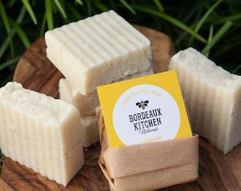 Jasmine Flower Scented Moisturizing Handcrafted Natural Lard Bar Soap by Bordeaux Kitchen Naturals