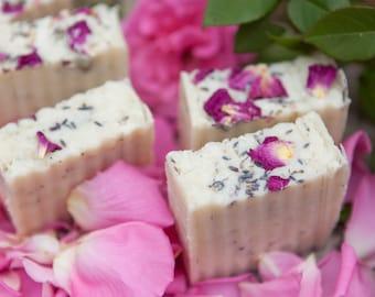 Moisturizing Handcrafted Lavender Rose Lard Bar Soap by Bordeaux Kitchen Naturals
