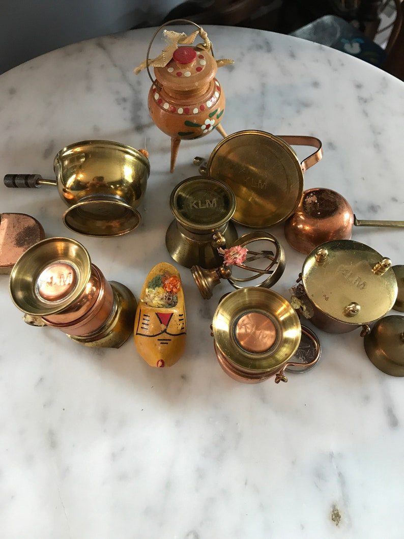 copper and brass wood KLM Royal Dutch Airlines promotional trinkets