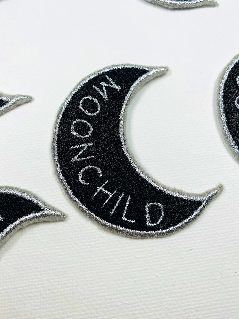 namjoon Rm MOONCHILD moon iron on patch embroidered kpop patches BTS army black and metallic silver appliqu\u00e9 song patches embroidery