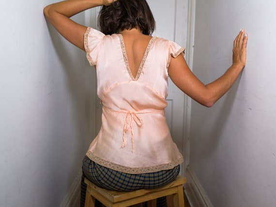 blush pink silk camisole with lace appliqué - image 4