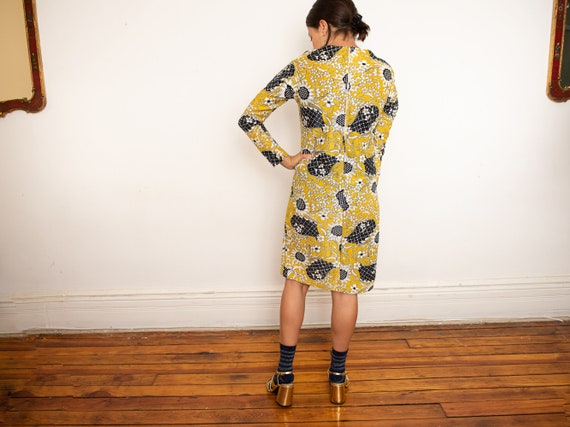 yellow psychedelic print dress - image 5