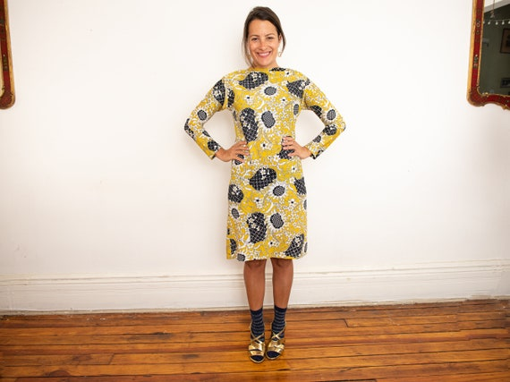 yellow psychedelic print dress - image 9