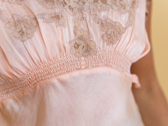 blush pink silk camisole with lace appliqué - image 6