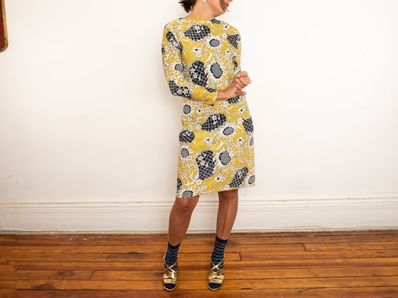 yellow psychedelic print dress - image 2