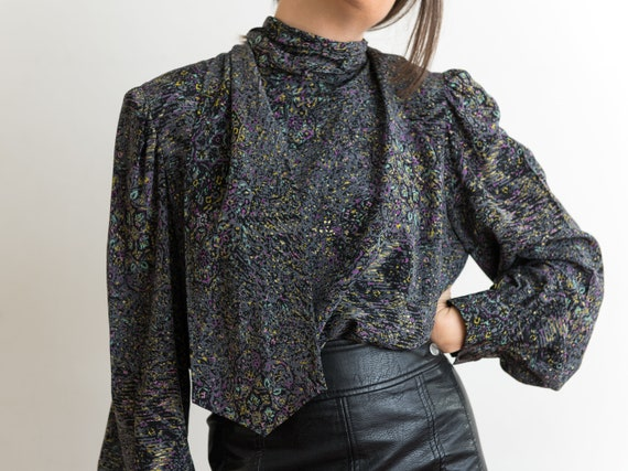 micro painterly floral grey silk blouse