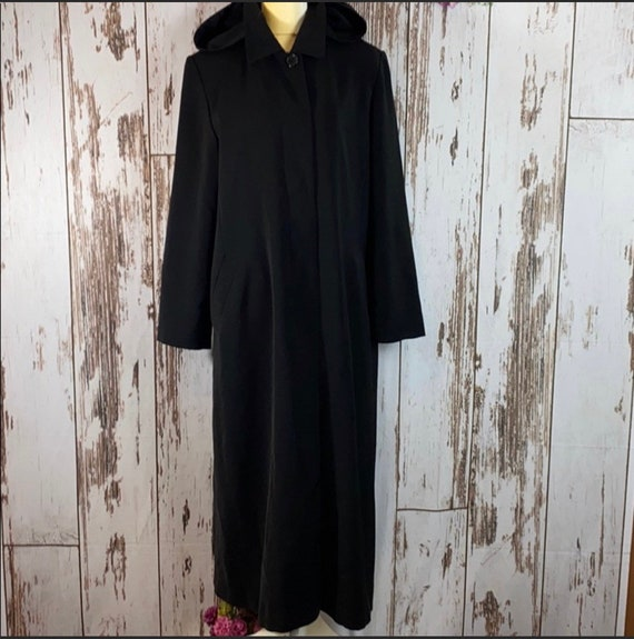 Vintage gallery black long trench coat/fall coat G