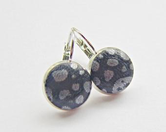Earrings LEDER BLACK SILVER
