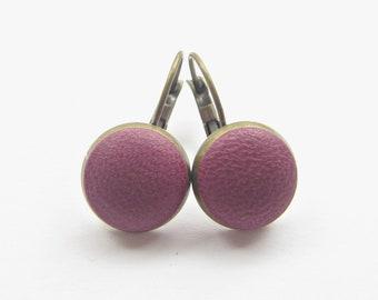 Earrings LEDER AUBERGINE BRONZE