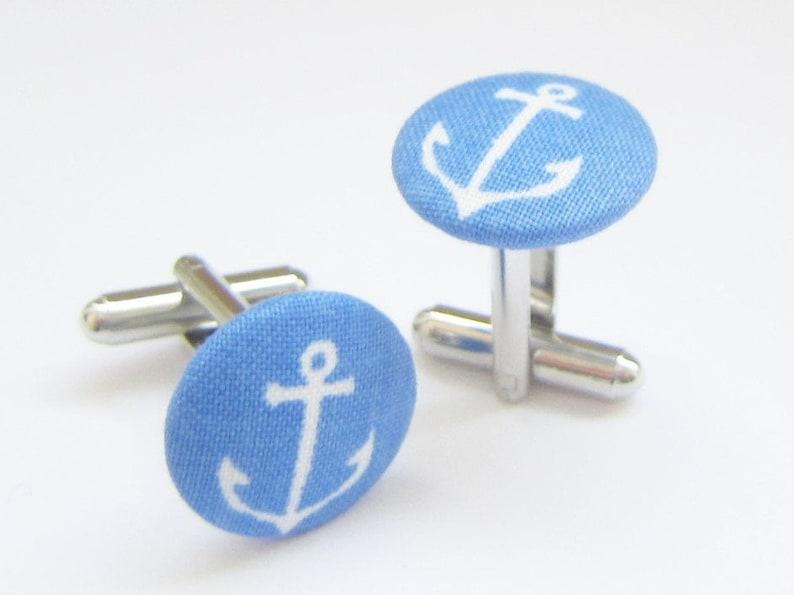 Anchor cufflinks summer blue image 0