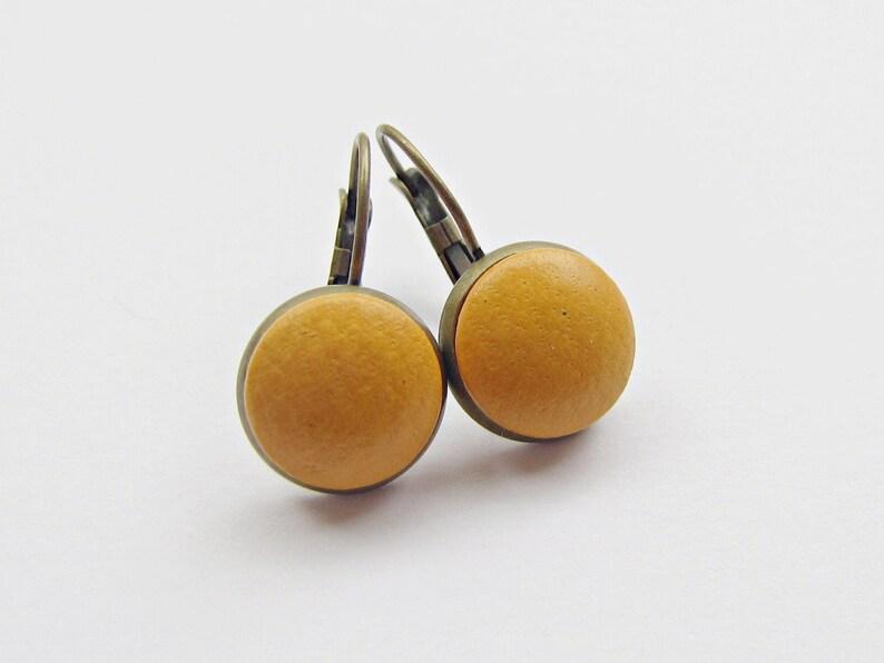 Earrings LEDER SENFGELB BRONZE image 0