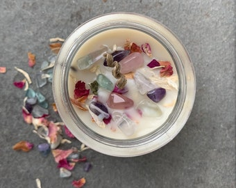 Clean Burning Aromatherapy Beeswax Candle with Patchouli Essential Oil Patchouli Candle Hemp Wick Dried White Sage and Fluorite Crystals