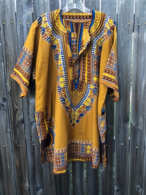 Vintage AFRICAN dashiki tunic and pants - XL - gol