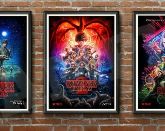 STRANGER THINGS 1 2 3 - Complete Collection - THREE Borderless A4 High Quality Poster Prints - Eleven Dustin Steve Mike Will Lucas Hopper