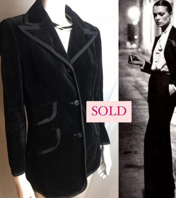 Vintage Cojana Le Smocking Tuxedo black velvet jac