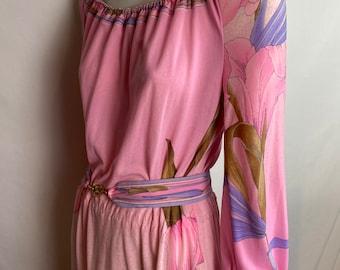 Vintage Leonard Paris pink jersey dress with flowers