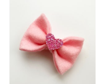 Cute valentine/'s party heart Pink Handmade Hair Bow bobbles x2