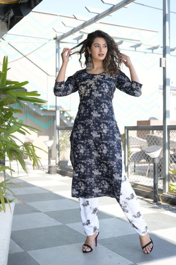 Bohemian Designer Classic Trendy Stylish Cotton Kurta With Pant Set For Women And Girls||Designer Kurti Set||Kurti Pant Set||Free Shipping