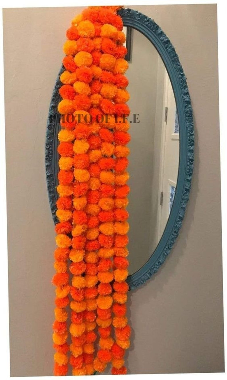 Wholesale Lots Artificial Marigold Flower decor Garlands Vine Wedding Indian Event Decoration Artificial Flowers Strings Mehndi Decorations