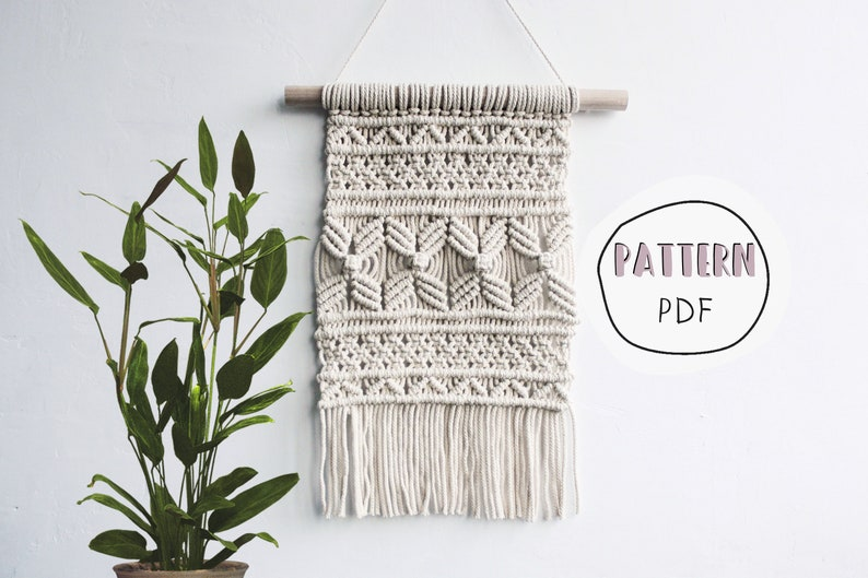 Macrame DIY Tutorial wall hanging / PDF Pattern for beginners image 0