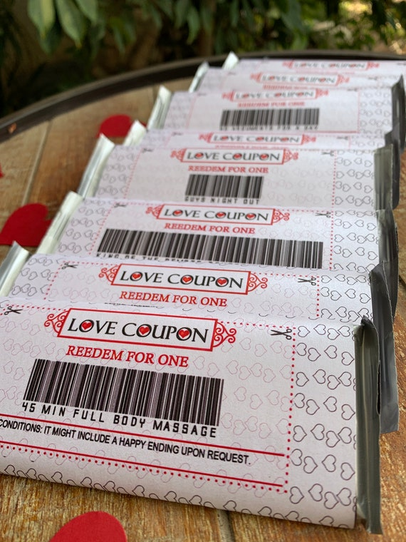 10 Love Coupons Wraps for Hershey\u2019s Milk Chocolate Bars