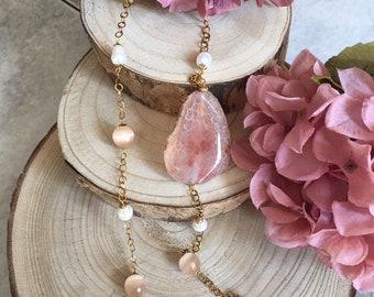 Hard stone chain necklace, salmon-colored cat eye chain,striped quartz