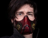 Mask Steampunk Face mask or Post-apocalyptic leather mask in colour Red PREMIUN. Based on Mad max