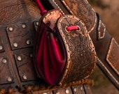 Viking leather belt pouch. Red nordic leather bag for Larp