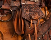 Viking leather belt pouch. Brown nordic leather bag for Larp