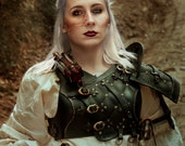 Larp female armor The Witcher Cosplay BLACK, Costume, Leather Armor Props medieval fantasy