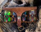 Steampunk Potion bottle Larp. Four glass bottles for archemist, witch kit, medieval costume, cosplay ...BROWN Leather belt holder