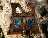 Medival belt pouch larp. Leather bag with custom shields.