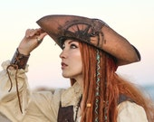 Pirate hat. Leather tricorn by inspired Jack sparrow in Pirates of the Caribbean