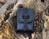 Leather belt pouch Black bag for Medieval, Steampunk or Cosplay costume... The Witcher belt pouch. Coin pourse.. Deck box leather