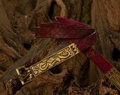 Red medieval leather belt. Renaissance belt for larp