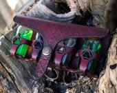 Larp Potion belt bottle Steampunk PREMIUM. Leather holster bottles for archemist, witch kit, medieval costume,...RED Leather belt holder
