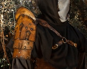 Leather shoulder armor style medieval fantasy for larp or cosplay