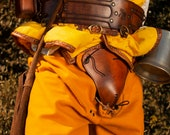 Brown leather medieval codpiece for your larp armor