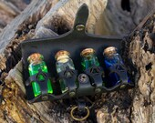 LARP potion bottles, Steampunk, Cosplay, Harry Potter... Four glass bottles for costume, witch kit witch BLACK Leather belt holder