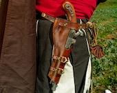 Basic Leather brown gun holster o Flintlock pistol for larp, steampunk or cosplay