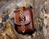 Leather belt pouch Brown bag for Medieval, Steampunk or Cosplay costume... The Witcher belt pouch. Coin pourse.. Deck box leather