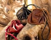 Medieval Leather Bag, LARP judas bag, medival bag. Brown, Red and Black Leather purse