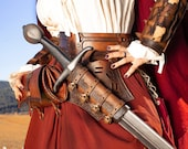 Leather medieval scabbard. Sword scabbard for larp or cosplay