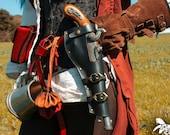 Basic Leather black gun holster o Flintlock pistol for larp, steampunk or cosplay