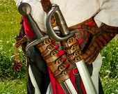 Medieval leather baldric with sword scabbard for larp, cosplay or steampunk